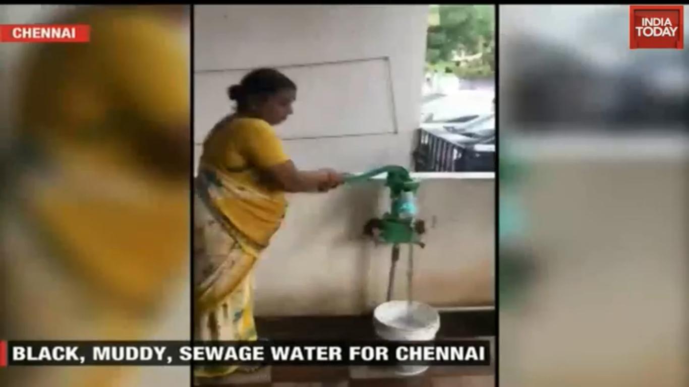 Sewage water cmoing out from Handpump