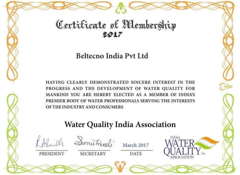 Beltecno India Regular Member Certificate